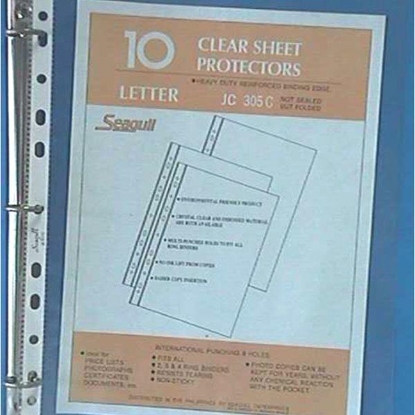 binder clear sheet